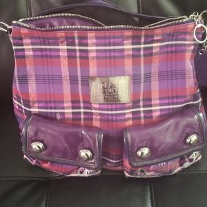 Purple plaid poppy coach bag